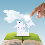 open book of hand complete puzzle home as concept